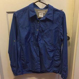 Women's L exofficio blouse in medium blue 2 zip